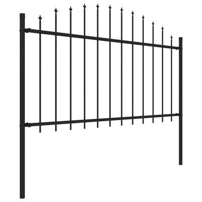 vidaXL Trädgårdsstaket med spjuttopp stål (1,25-1,5)x17 m svart