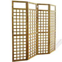 vidaXL Rumsavdelare/Spaljé 4 paneler massivt akaciaträ 160x170 cm