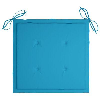 vidaXL Bataviastolar 2 st med blå dynor massiv teak