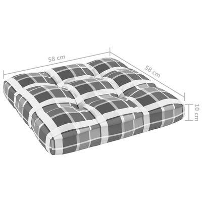 vidaXL Dyna till pallsoffa grått rutmönster 58x58x10 cm