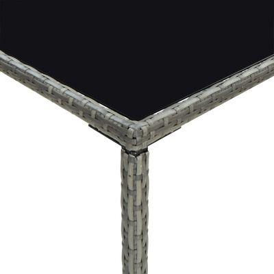 vidaXL Barbord för trädgård grå 70x70x110 cm konstrotting och glas