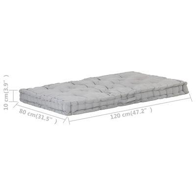 vidaXL Dyna till pallsoffa bomull 120x80x10 cm grå