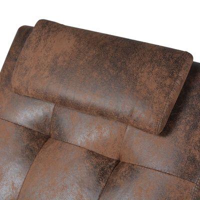 vidaXL Schäslong med kudde brun mockaimitation