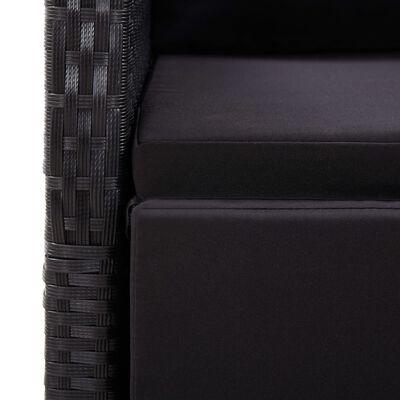 vidaXL Matgrupp för trädgården med dynor 5 delar konstrotting svart