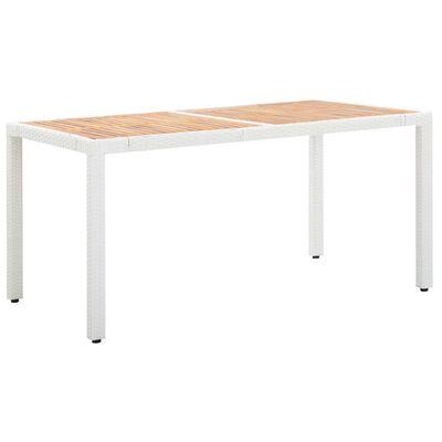 vidaXL Trädgårdsbord vit 150x90x75 cm konstrotting och massivt akaciaträ