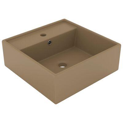 vidaXL Fyrkantigt handfat bräddavlopp matt gräddvit 41x41 cm keramik