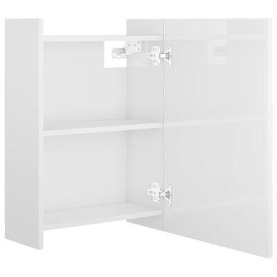 vidaXL Spegelskåp för badrum vit högglans 62,5x20,5x64 cm spånskiva