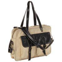 vidaXL Handväska beige 40x53 cm  kanvastyg och äkta läder