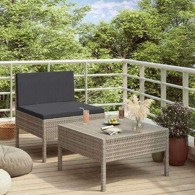 vidaXL Loungegrupp för trädgården med dynor 2 delar konstrotting grå, Grå