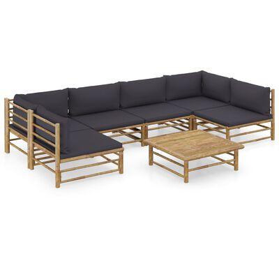 vidaXL Loungegrupp för trädgården med mörkgrå dynor 7 delar bambu, Grey