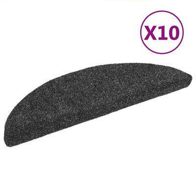 vidaXL Trappstegsmattor självhäftande 10 st mörkgrå 54x16x4 cm brodyr