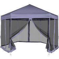 vidaXL Pop-Up Partytält med 6 sidoväggar sexkantigt 3,6x3,1 m mörkblå