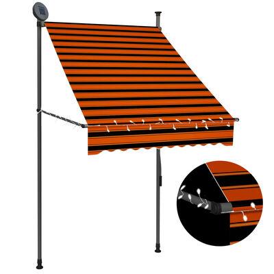 vidaXL Markis manuellt infällbar med LED 100 cm orange och brun