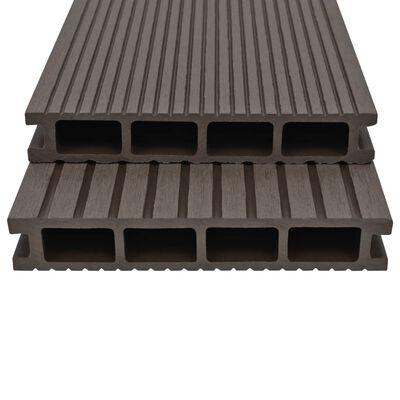 vidaXL WPC ihåliga golvplattor med tillbehör 10 m² 2,2 m mörkbrun
