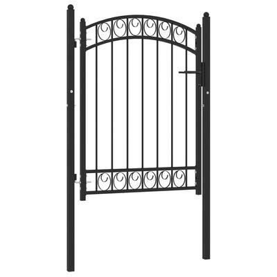vidaXL Trädgårdsgrind med välvd ovansida stål 100x125 cm svart