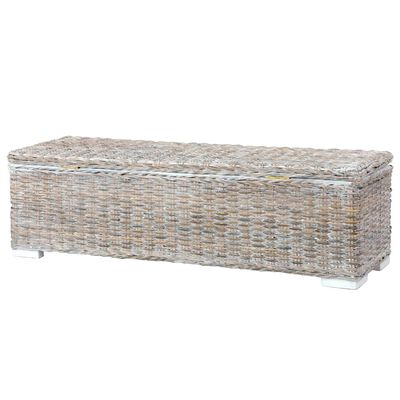 vidaXL Förvaringslåda 120 cm vit kubu-rotting och massivt mangoträ