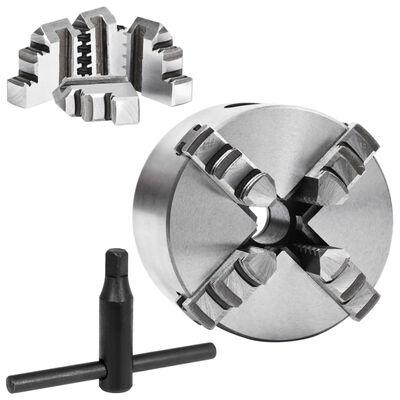 vidaXL 4-backs självjusterande svarvchuck 80 mm stål