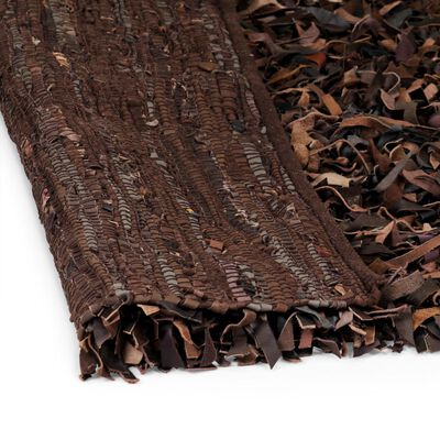 vidaXL Shaggy-matta äkta läder 160x230 cm brun