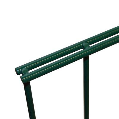vidaXL 2D Stängselpaneler med stolpar 2008x2230 mm 16 m grön