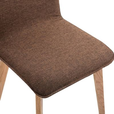 vidaXL Matstolar 2 st brun tyg och massiv ek