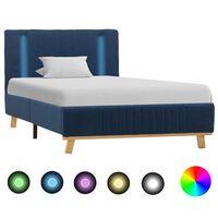 vidaXL Sängram med LED blå tyg 100x200 cm