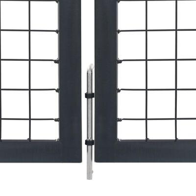 vidaXL Grind med stolpar stål 350x120 cm antracit