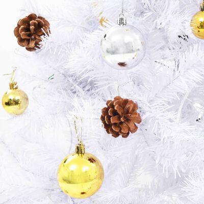 vidaXL Plastgran dekorerad med julkulor och LED 210 cm vit