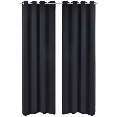 2-pack svarta mörkläggningsgardiner med metallringar 135 x 245 cm