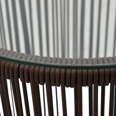 vidaXL Bistrogrupp 3 delar med dynor PVC-rotting brun