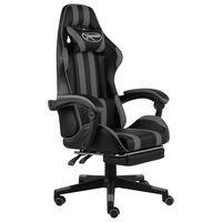 vidaXL Gamingstol med fotstöd svart och grå konstläder