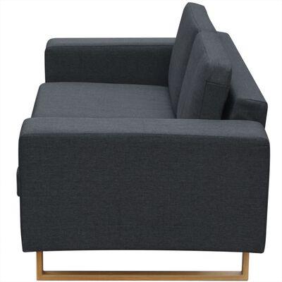 vidaXL Soffa 2-sits tyg mörkgrå