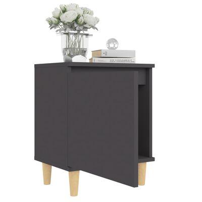 vidaXL Sängbord med massiva ben grå 40x30x50 cm