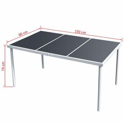 vidaXL Trädgårdsbord 150x90x74 cm svart stål