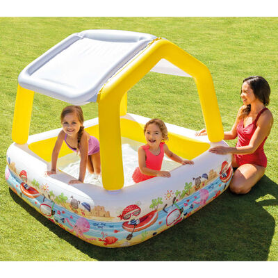 Intex Uppblåsbar pool med solskydd 157x157x122 cm