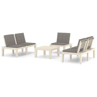 vidaXL Loungegrupp för trädgården 4 delar med dynor plast vit