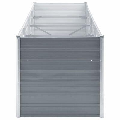 vidaXL Odlingslåda upphöjd galvaniserat stål 320x80x77 cm grå