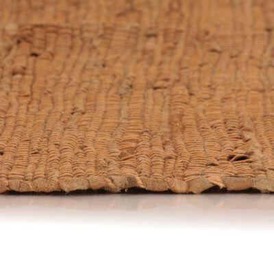 vidaXL Handvävd matta Chindi läder 190x280 cm ljusbrun