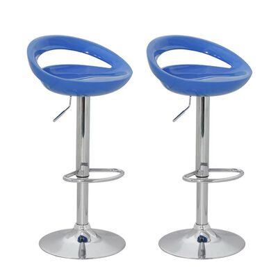 vidaXL Barstolar 2 st blå plast