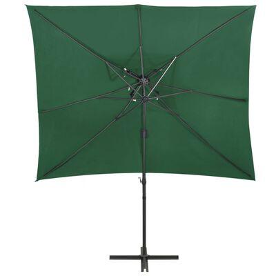 vidaXL Frihängande parasoll med ventilation grön 250x250 cm