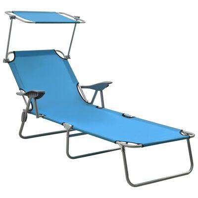 vidaXL Solsäng med tak stål blå