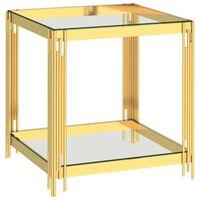 vidaXL Soffbord guld 55x55x55 cm rostfritt stål och glas