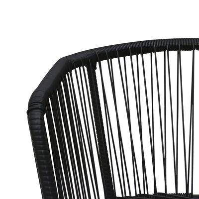 vidaXL Trädgårdsstolar 2 st med dynor och kuddar PVC-rotting svart