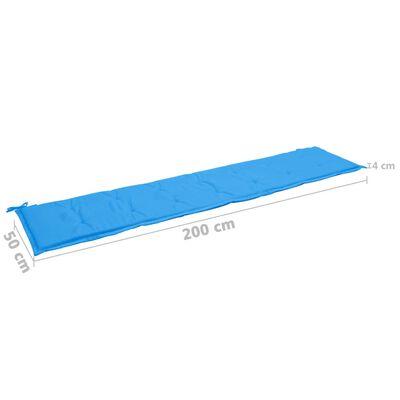 vidaXL Bänkdyna för trädgården blå 200x50x3 cm