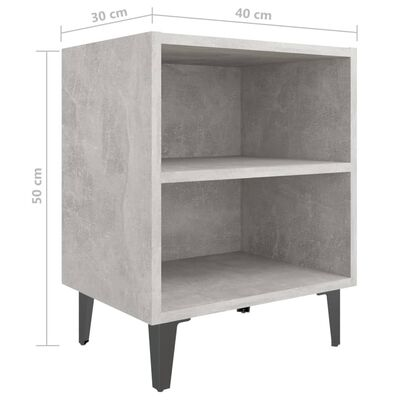 vidaXL Sängbord med metallben 2 st betonggrå 40x30x50 cm