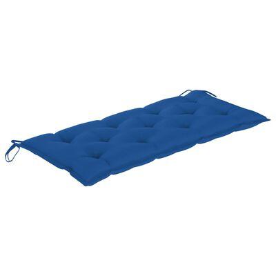 vidaXL Gungbänk med blå dyna 120 cm massiv teak