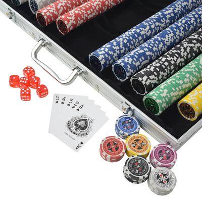vidaXL Pokerset med 1000 laser-marker aluminium