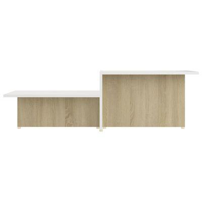 vidaXL Soffbord sonoma-ek och vit 111,5x50x33 cm spånskiva