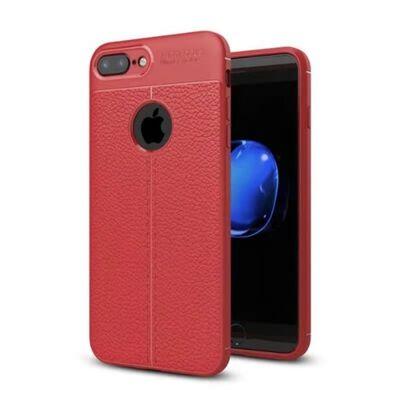 Läder mönstrat TPU skal Apple iPhone 6+,6S Plus Röd
