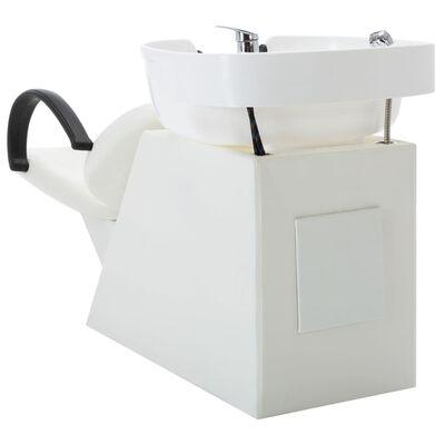 vidaXL Schamponeringsstol med handfat vit konstläder