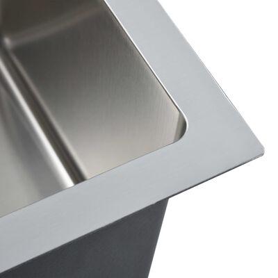 vidaXL Handgjord diskho med kranhål rostfritt stål